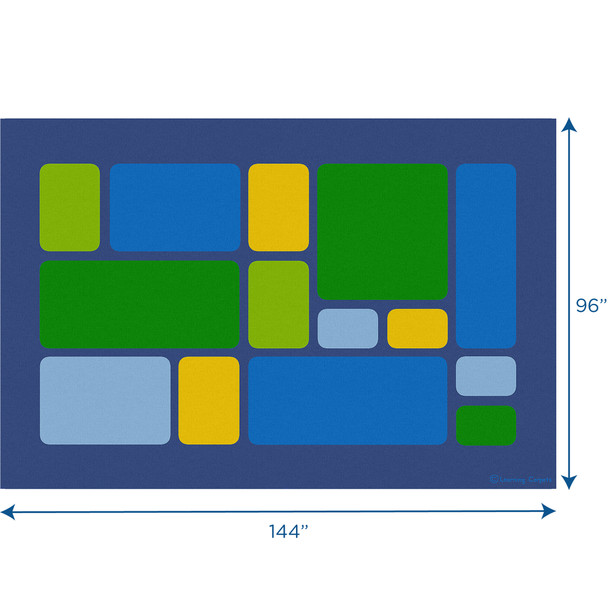 Color Block Cool Tones - Rectangle Large Rug