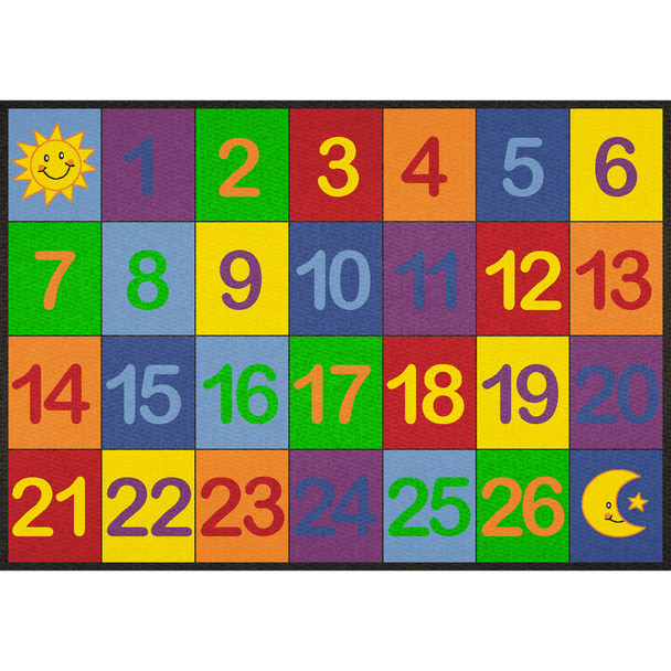 Colorful Number Grid 1-26 - Small Rectangle Rug