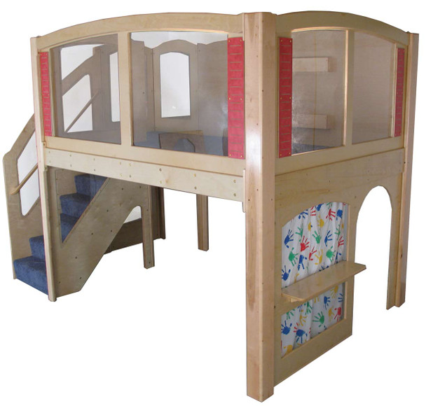 Mainstream Explorer 25 Preschool Wave Play Loft w/Steps on the Left, Blue Carpet