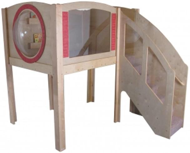 Mainstream Explorer 1 Preschool Corner Wave Play Loft with Beige Carpet, Steps on Right 1