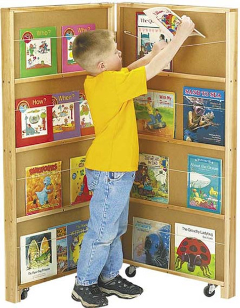 Jonti-Craft Mobile Library Bookcase - 2 Sections 1