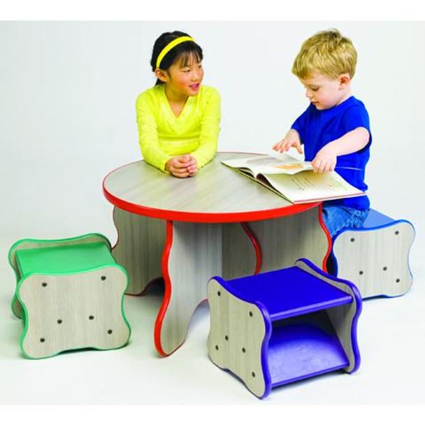 Wavy Table and 4 Stool Set