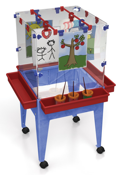 "Childbrite Youth 4 Station Space Saver Easel w/9"" deep clear tub"
