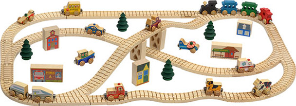 Town Wooden Train Set