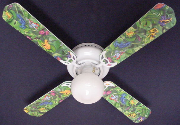 "Tropical Rainforest Frogs Frog Ceiling Fan 42"" 1"