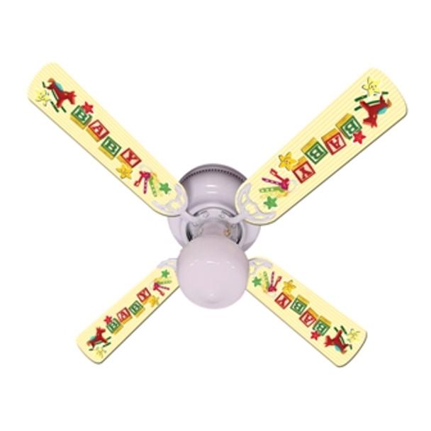 """Baby Nursery Toys Blocks Yellow Ceiling Fan 42"""" 1"""