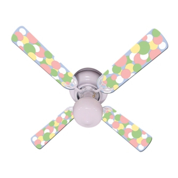 "Kids Soft Pastel Bubble Dots Ceiling Fan 42"" 1"