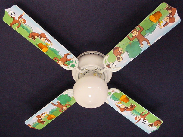 "Curious George Monkey Ceiling Fan 42"" 1"