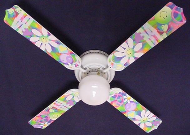 """Peace Love Happy Face 60'S Flowers Ceiling Fan 42"""" 1"""