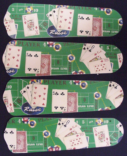 "Poker Cards Casino Craps Black Jack Ceiling Fan 42"" Blades Only 1"