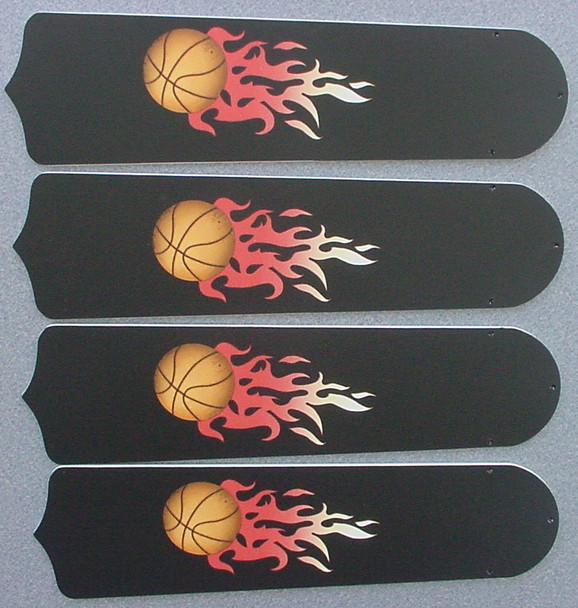 "Flaming Basketball Balls Ceiling Fan 42"" Blades Only 1"