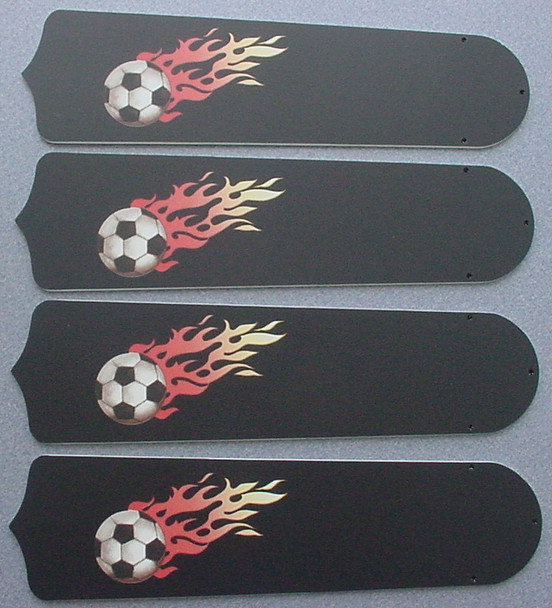 "Flaming Soccer Balls Ceiling Fan 42"" Blades Only 1"