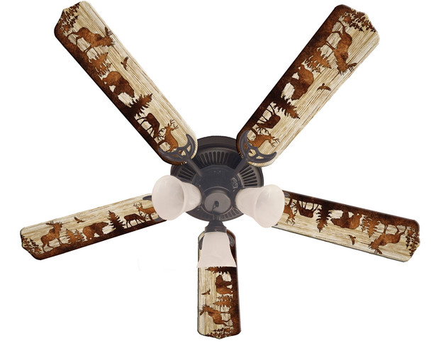 Bear Moose Deer Rustic Cabin Lodge Ceiling Fan 52""