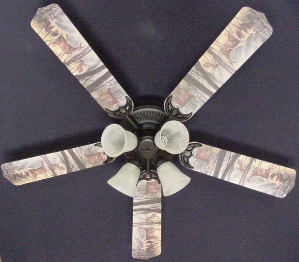 "Deer Buck Doe Hunting Ceiling Fan 52"" 1"