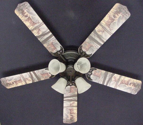 """Deer Buck Doe Hunting Ceiling Fan 52"""" 1"""