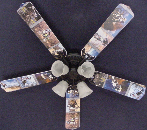 "Motocross Dirt Bikes Ceiling Fan 52"" 1"