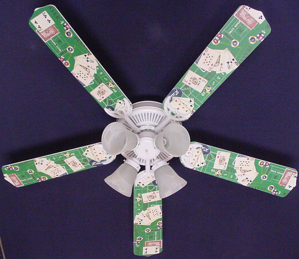 "Poker Cards Casino Craps Black Jack Ceiling Fan 52"" 1"