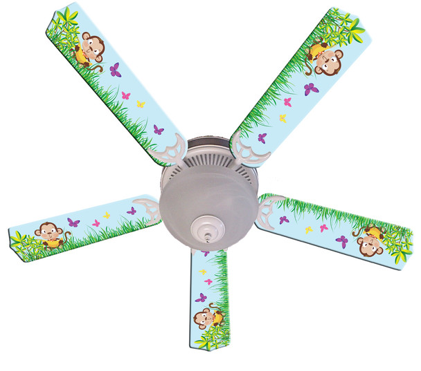 """Baby Monkey Mischief With Banana Ceiling Fan 52"""" 1"""