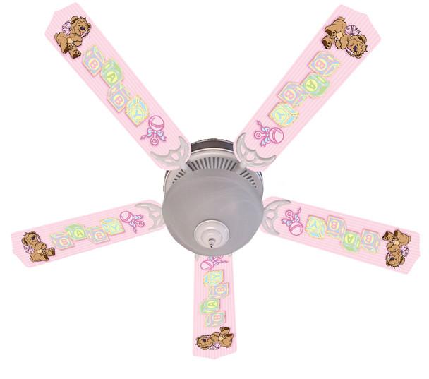 """Baby Nursery Toys Blocks Pink Ceiling Fan 52"""" 1"""