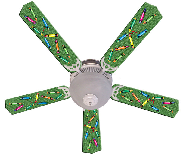 "Kids Colorful Crayons Ceiling Fan 52"" 1"