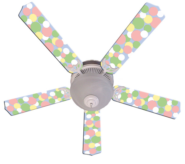 "Kids Soft Pastel Bubble Dots Ceiling Fan 52"" 1"