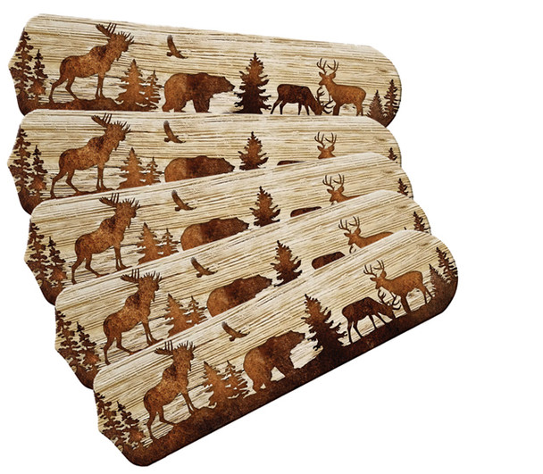 "Bear Moose Deer Rustic Cabin Lodge 52"" Ceiling Fan Blades Only"