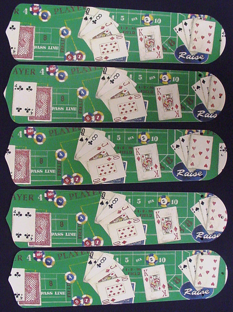 "Poker Cards Casino Craps Black Jack 52"" Ceiling Fan Blades Only 1"
