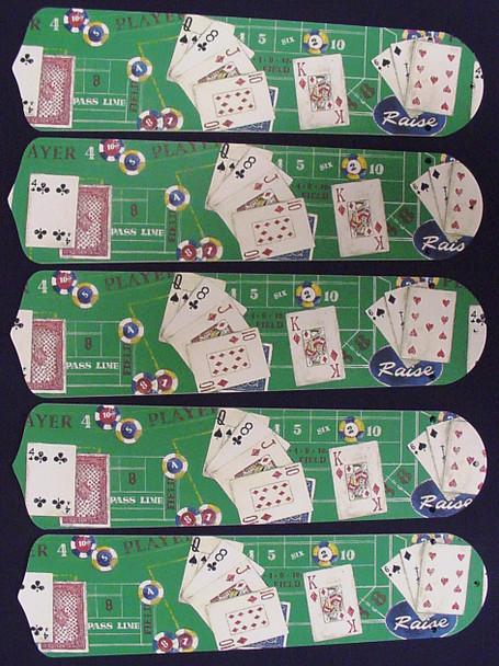 "Poker Cards Casino Craps Black Jack 52"" Ceiling Fan Blades Only 1"