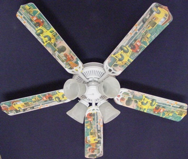 "Construction Dump Trucks 52"" Ceiling Fan Blades Only 1"