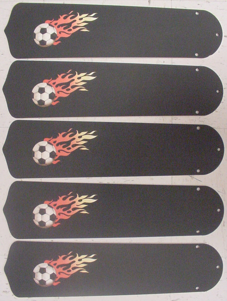 "Flaming Soccer Balls 52"" Ceiling Fan Blades Only 1"