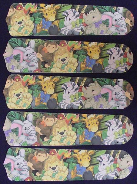 """Zootles Baby Animals Jungle 52"""" Ceiling Fan Blades Only 1"""