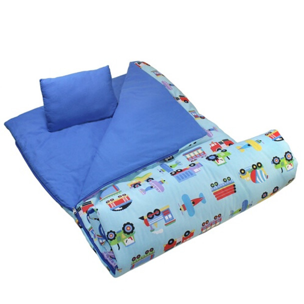 Wildkin Olive Kids Trains, Planes & Trucks Sleeping Bag 1