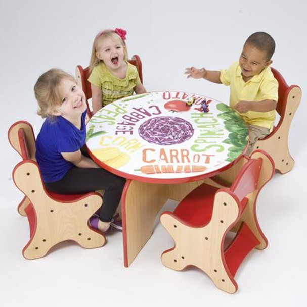 Playscapes Veggie Kids 5 Piece Table & Chairs Set 1