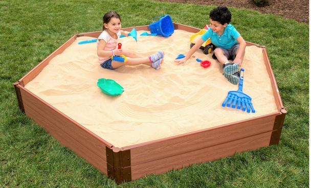 "7' x 8' x 11"" Hexagon Wooden Sandbox Kit"