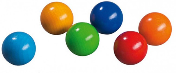 6 Wooden Marbles for Marble Track