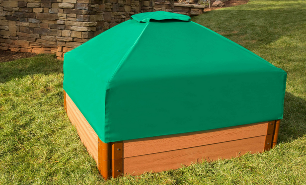 """Composite Sandbox Kit Square 4x4ft 2 Level /w Collapsible Cover, 2"""" Profile"""