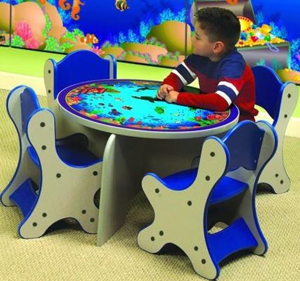 Seascape Play Table shown with optional chairs