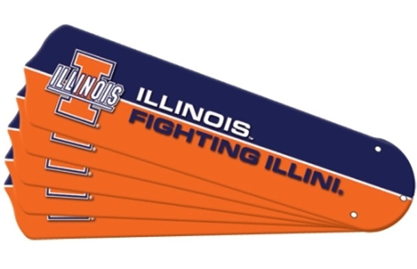 "NCAA Illinois Fighting Illini Ceiling Fan Blades For 52"" Fans"