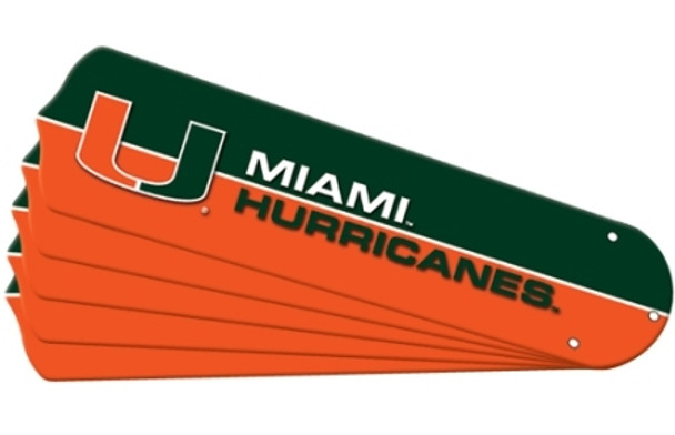 """NCAA Miami Hurricanes Ceiling Fan Blades For 42"""" Fans"""