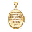 Designs by Nathan, 14k Yellow Gold Footprint Oval Locket Pendant with Inscription (no necklace included)