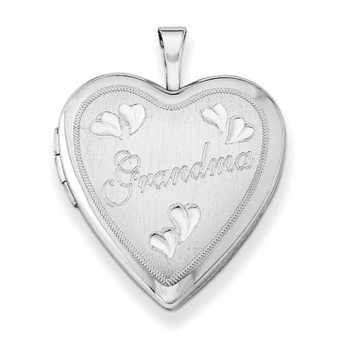 "Designs by Nathan, 925 Sterling Silver ""Grandma"" Heart Pendant Locket (2 Panes)"
