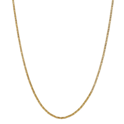 Designs by Nathan 2mm Wide Byzantine Chain Necklace in 14K Gold
