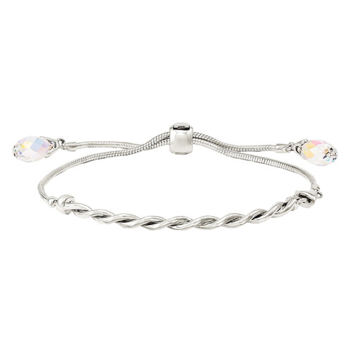 Designs by Nathan Sterling Silver Rhodium-Plated Swarovski Crystal Tassel Adjustable Bracelet