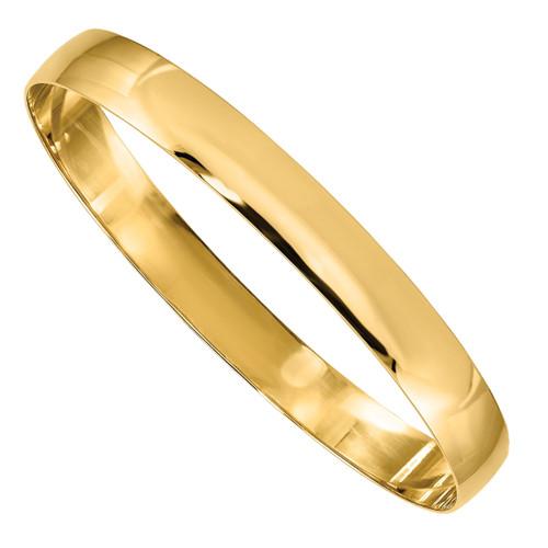 Designs by Nathan 8mm Wide 14K Gold Polished Bangle Bracelet