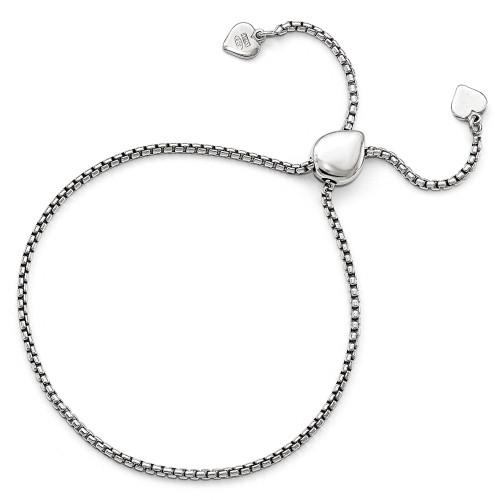 BLUE Leslie's Sterling Silver Teardrop Box Heart Adjustable Bracelet