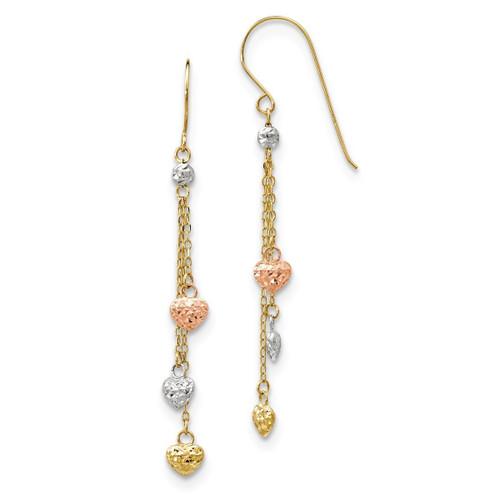 Leslie's 14k Tri-Color Diamond-Cut Heart Dangle Shepherd Hook Earrings 55mm Long (About 2.2in)