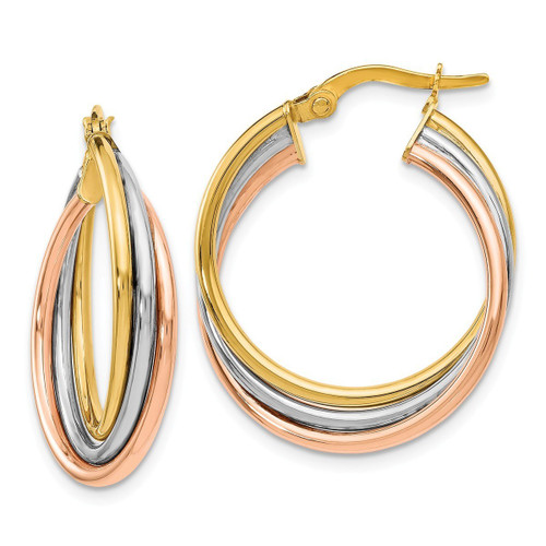 """Leslie's 14k Tri-Color Polished And Textured Twisted Hoop Earrings 22mm x 16.5mm (About 7/8"""" x 5/8"""")"""