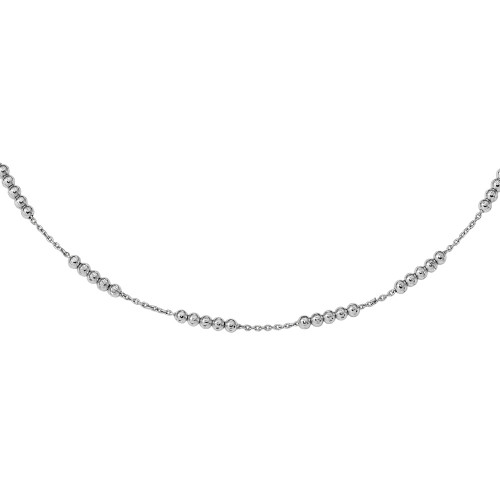 Leslie's 925 Sterling Silver Intermittently Beaded Chain Necklace