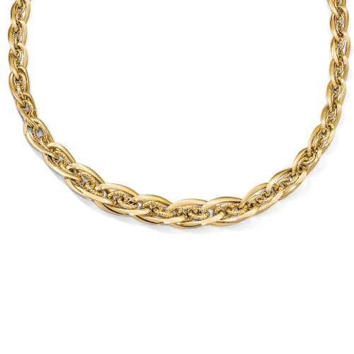 Leslie's Fancy 14k Yellow Gold Bracelet, Polished Links Woven w/ Diamond-Cut Textured Small Links, 8""