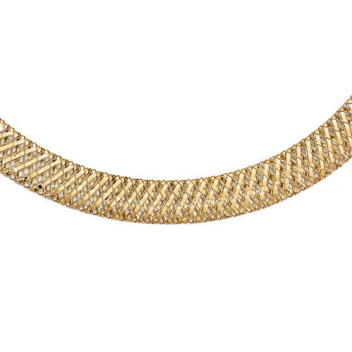 Leslie's 14k Yellow Gold Wide Flexible, Fancy Polished Mesh Stretch Necklace 17.75 Inches